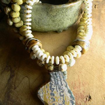 Green Ocean Jasper Pendant Necklace Tribal Yellow Bone Handmade Tribal Jewelry OOAK
