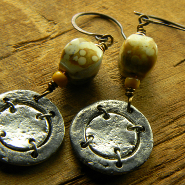 Ocean Jasper Tribal Earrings Yellow Rustic Pewter Handmade Bohemian Jewelry