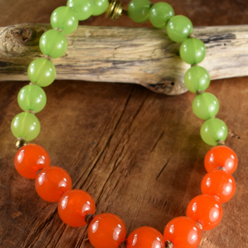 Orange Green Necklace, Tribal Tot, Toddler Jewelry, Little Girl Necklace, Colorful Kid Jewelry,