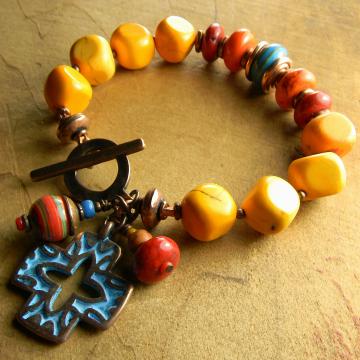 Orange Red Blue Tejana Bracelet
