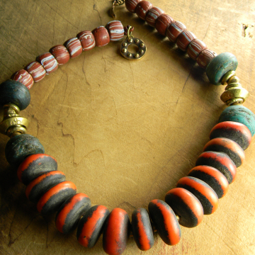 Orange Moroccan Copal Choker Necklace Green Hebron Beaded African Necklace
