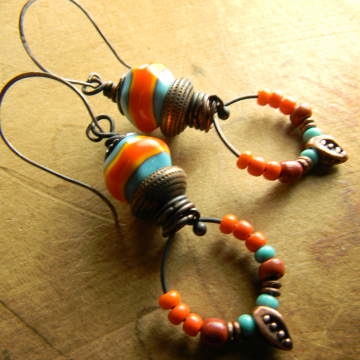 Mexican Earrings, Tejana Collection, Colorful Lampwork, Beaded Earrings, Orange, Turquoise, Copper, Tribal Jewelry