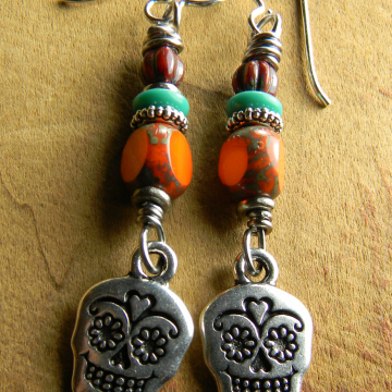 Pewter Sugar Skull Earrings