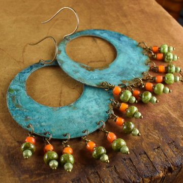 Patina Brass Hoop Beaded Earrings, Tribal, Orange Boho, Rustic, Hippie, Large Hoops, Verdigris, Statement Earrings