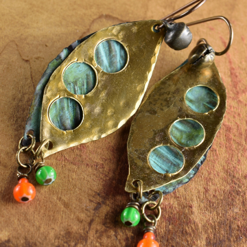 Pea Pod Tribal Earrings, Hammered Brass, White Heart Beads, Orange, Green, Verdigris Patina