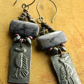 Primitive Bird Earrings, Artisan Pewter, Purple Dormurtierite, Tribal Jewelry