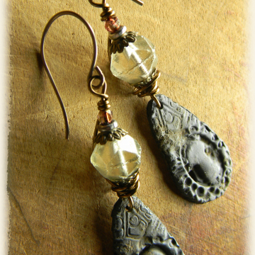 Distressed Pewter Keyhole Earrings Handmade Rustic Bohemian One of a Kind Jewelry