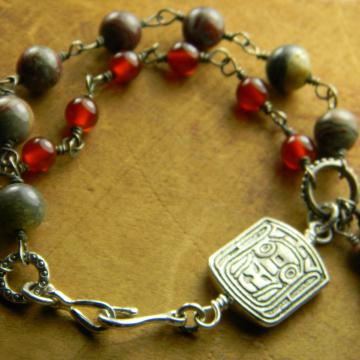 Pewter Totem Bracelet Carnelian Jasper Rustic Beaded Handmade OOAK Jewelry