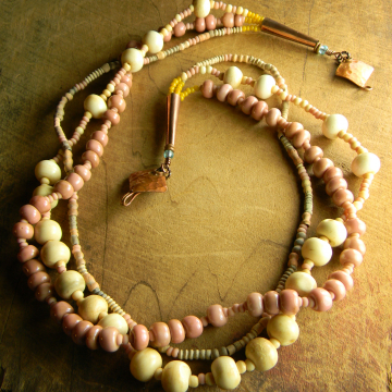 Trade Bead Necklace Pink Cheyenne Southwestern Boheo Handmade Copper Jewelry