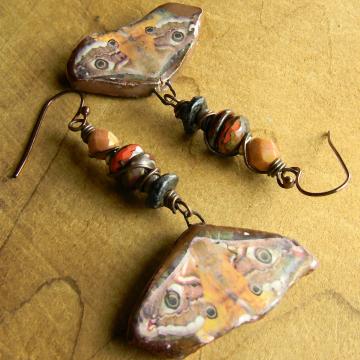 Artisan Moth Earrings Pink Orange Bronze Bohemian Beaded Jewelry