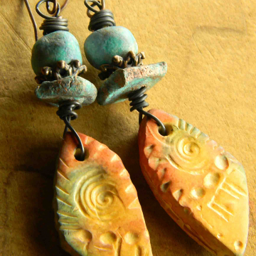 Southwestern Earrings, Rustic Clay Earrings, Artisan Beaded Jewelry, Tribal Jewelry, Santa Fe Earrings