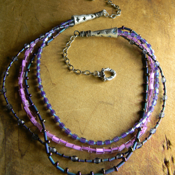 Sterling Silver Multi-Strand Necklace with Czech Glass