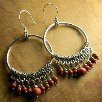 Tejana Mexican Earrings Hoops Red Jasper Silver Pewter