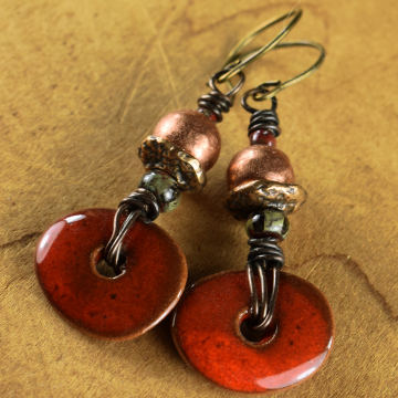 Red Drop Earrings, Mykonos Ceramic, Flake, Copper, Artisan Bronze, Tribal Earrings