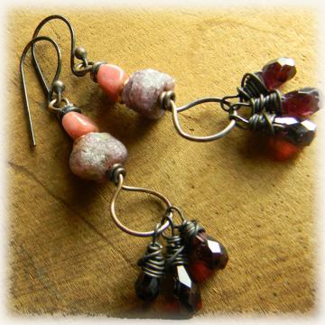 Ruby Garnet Rustic Copper Earrings