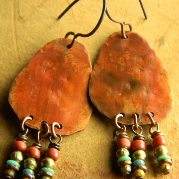 Hammered Copper Chandelier Earrings Rust Patina African Brass Red Green