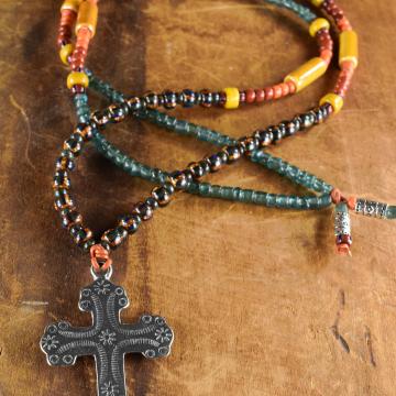 Southwestern Cross Pendant Necklace, Western Jewelry, Tribal Teen, Yellow, Blue, Orange, Terracotta, Boho Tribal Jewelry