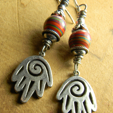 Sterling Silver Spiral Hand Earrings