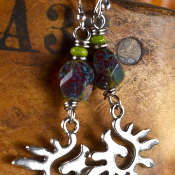 Spiral Sun Earrings, Tribal Teen, Boho Teen Jewelry, Silver, Pewter, Tribal Jewelry