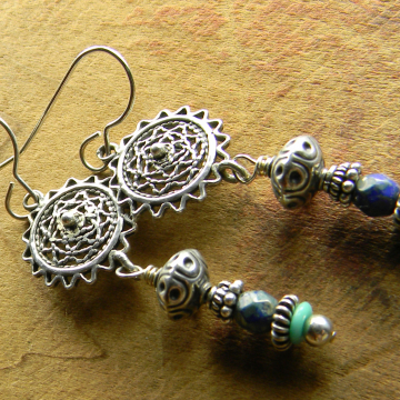 Boho Sterling Silver Earrings Filigree Blue Drops