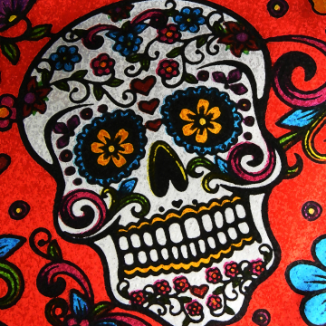 Sugar Skull on Red