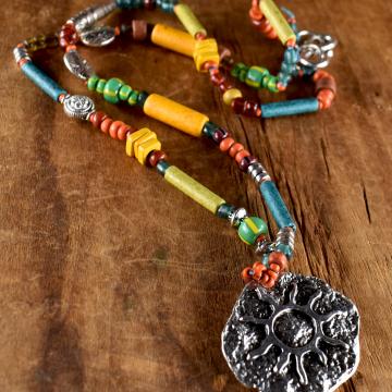 Tribal Teen, Sun Pendant Necklace, Colorful Mykonos Beads, Yellow, Green, Blue, Orange, Teen Jewelry