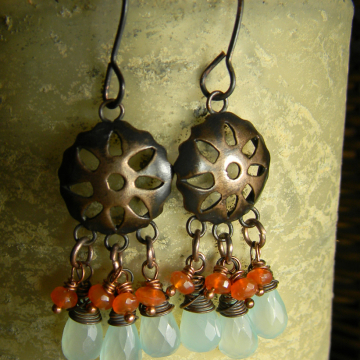 Chalcedony and Carnelian Sunburst Earrings