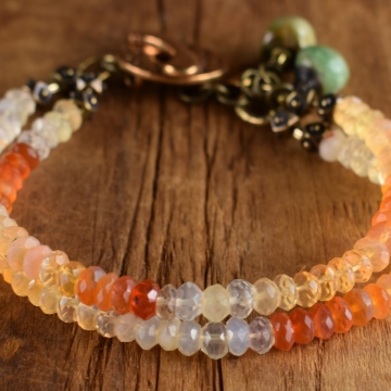 Mexican Opal Bracelet, Multi-Strand, Rustic Bronze, Indian Summer Collection, Orange, Green, Tribal Jewelry