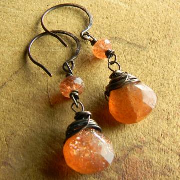 Sunstone Dangle Earrings