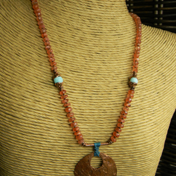 Sunstone Necklace with Artisan Copper Pendant