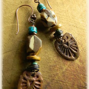 Copper Concho Earrings