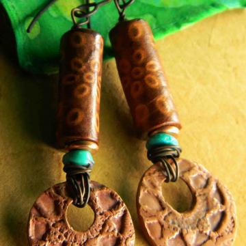 Southwest Copper Earrings, Southwestern Jewelry, Rustic Copper, Artisan Metal Clay, Turquoise Earrings