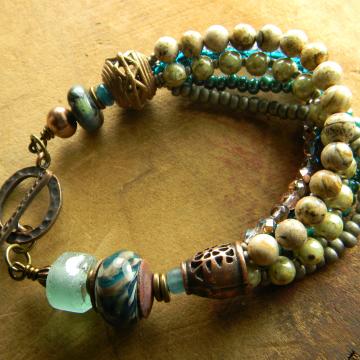 Rustic Lampwork Glass Bracelet Teal Blue Green Recycled Glass Beaded Handmade Jewelry