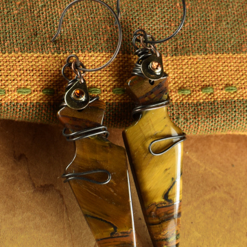 Tribal Tiger Eye Earrings, Matched Stone Earrings, Arrowhead, Dagger, Wire Wrapped, Copper