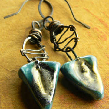 Primitive Drop Earrings, Artisan Blue Ceramic, Scorched Earth, Tribal Jewelry, Triangle, Copper