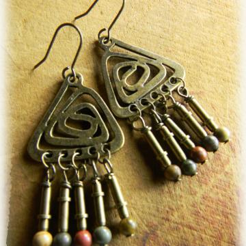 Boho Tribal Chandelier Earrings Creek Jasper Handmade Rustic Brass OOAK Jewelry