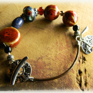 Tribal Lampwork Bracelet Rustic Sterling Silver Red Blue Beaded Handmade OOAK Jewelry