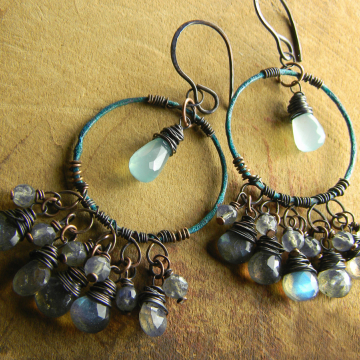 Verdigris Hoop Earrings with Labradorite and Chalcedony