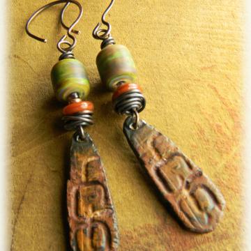 Tribal Earrings, Rustic Copper, Green Lampwork, Artisan Pewter, Tribal Jewelry