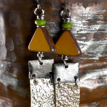 Yellow Geometric Earrings, Tribal Teen, Pewter, Green, Flirty Earrings, Tribal Jewelry