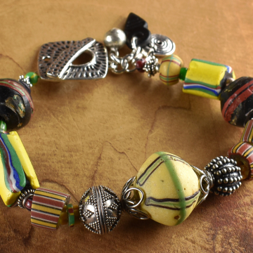 African Beaded Bracelet, Yellow King Bead, African Trade Beads, Striped, Watermelon, Tribal Jewelry