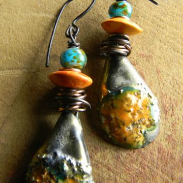 Orange Ceramic Dangle Earrings Crusty Copper Wire Wrap Turquoise Primitive Funky Bohemian Jewelry